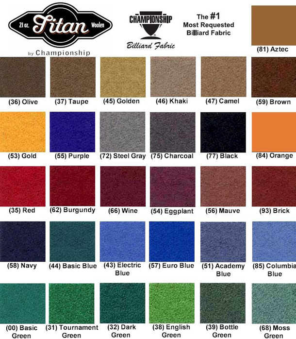 Championship Felt Color Choices