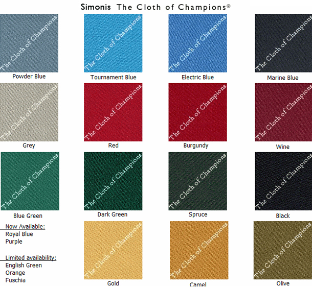 Pool Table Felt Colors Chart